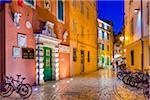 Cobblestone Street at Dusk in Rovinj, Istria, Croatia