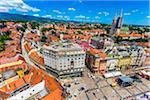 Overview of Ban Jelacic Square, Zagreb, Croatia