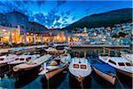 Boats in harbour at Dusk in Dubrovnik, Dalmatia, Croatia