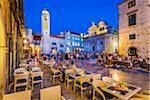Restaurant Patio in Luza Square at Dusk in Dubrovnik, Dalmatia, Croatia