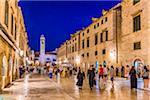 Street Scene of Stradun at Dusk in Dubrovnik, Dalmatia, Croatia