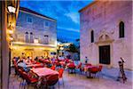 Restaurant Patio at Dusk in Korcula, Dalmatia, Croatia