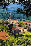 Overview of rooftops in the picturesque town of Kaldir (Caldier) in Istria, Croatia