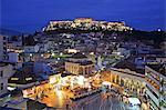 Greece, Athens, view of Acropolis from Monastiraki at dusk, UNESCO World Heritage