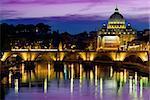 Purple sky over Vatican at sunrise, Italy
