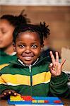 A young girl using an abacus, Meyerton Primary School, Meyerton, Gauteng