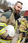 Sweden, Sodermanland, Portrait of firefighter at fire station