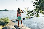 Sweden, Blekinge, Hallarum, Girl (8-9) looking at view