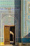 Door and facade detail, Jameh Mosque, Yazd, Iran, Middle East