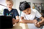 Boys learning in classroom