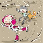 Funny figure skating. Girl and boy skating. Vector cartoon illustration