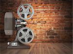 Vintage projector on the bricks background. Cinema, movie or video concept.  3d illustration