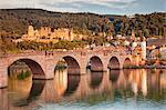 Old town with Karl-Theodor-Bridge (Old Bridge) and Castle, Neckar River, Heidelberg, Baden-Wurttemberg, Germany, Europe