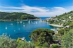 Green vegetation frames the turquoise sea of the Gulf of Poets surrounding Portovenere, La Spezia province, Liguria, Italy, Europe