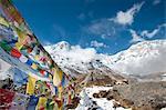 Buddhist prayer flags at Annapurna Base Camp, Nepal, Himalayas, Asia