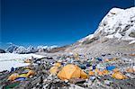 Everest Base Camp, a temporary city at 5500m on the Khumbu glacier, Khumbu Region, Nepal, Himalayas, Asia