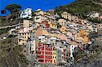 Medieval houses in steep ravine, Riomaggiore, Cinque Terre, UNESCO World Heritage Site, Ligurian Riviera, Liguria, Italy, Europe