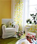 Detail of a living room, Sweden.