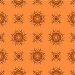 Orange Ornamental Seamless Line Pattern. Endless Texture. Oriental Geometric Ornament