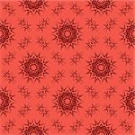 Red Ornamental Seamless Line Pattern. Endless Texture. Oriental Geometric Ornament