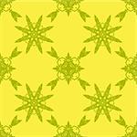 Yellow Ornamental Seamless Line Pattern. Endless Texture. Oriental Geometric Ornament