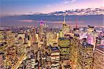 New York City aerial skyline view over midtown Manhattan.