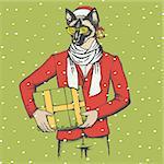 Christmas cat vector illustration. Cat in human suit with gift. Christmas cat vector in Santa hat