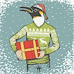 Christmas penguin vector illustration. Penguin in human suit with gift. Christmas Penguin vector in Santa hat