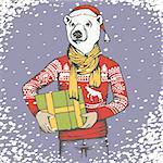 Christmas white polar bear vector illustration. White polar bear in human sweatshirt with gift. Christmas Polar bear in Santa hat