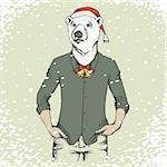 Christmas white polar bear vector illustration. White polar bear in human suit. Christmas Polar bear in Santa hat