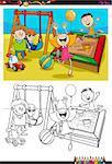 Cartoon Illustration of Children on Playground Coloring Book Activity