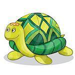Happy little cartoon turtle smiling vector illustration