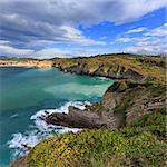 Summer ocean bay coastline view near Gorliz town, Biscay, Basque Country (Spain).
