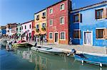 Canal and colourful facade, Burano, Veneto, Italy, Europe
