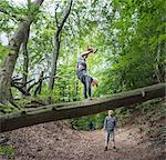 Boy in forest doing handstand on fallen tree