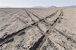 Tire tracks on playa, Black Rock Desert, Nevada