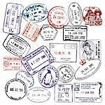 Travel and visa passport stamps background