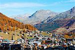 Saas Fee resort in autumn, Valais, Swiss Alps, Switzerland, Europe