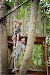Boys in tree house