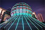Futuristic illuminated architecture in Hangzhou, Zhejiang, China, Asia