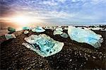 Icebergs on a black sand volcanic beach next to the Jokulsarlon glacial lake in Vatnajokull National Park in southeast Iceland, Polar Regions