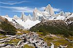 View of Mount Fitz Roy on Laguna de Los Tres trail, El Chalten, Patagonia, Argentina, South America
