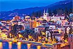 Town of Volosko evening waterfront view, Opatija riviera of Croatia