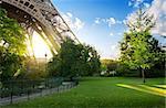 Green meadow near Eiffel Tower in Paris, France
