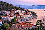 Moscenicka draga village waterfront at dawn, Kvarner bay of Croatia