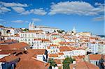 Monastery of Sao Vicente de Fora and surrounding buildings in the Alfama District viewed from the Miradouro de Santa Luzia in Lisbon Portugal