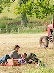 woman lying on man,picnic scene