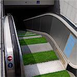 Grass on escalator