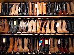 Cowboy boots on shelves