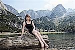 Woman dangling feet in lake